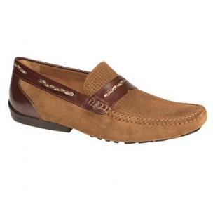 Mezlan Bassols Suede & Calfskin Driving Shoes Tan / Brown Image
