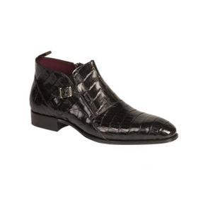 Mezlan Bene Crocodile Ankle Boots Black Image