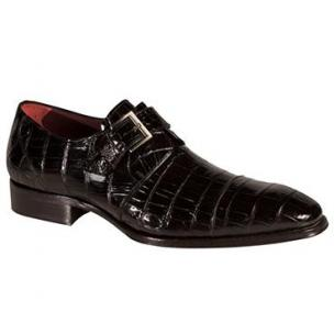 Mezlan Berlin Alligator Monk Strap Shoes Black Image