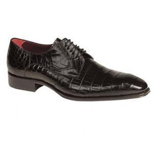 Mezlan Bernard Alligator Lace Up Shoes Black Image