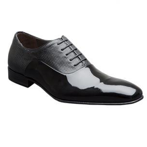 Mezlan Bogart Patent & Ribbed Leather Formal Shoes Black Image