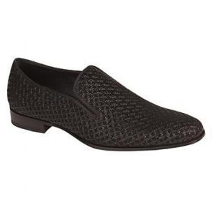 Mezlan Boheme Embossed Suede Venetian Loafers Black Image