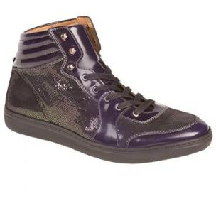 Mezlan Bordeaux Embossed Calfskin Flourescent Sneakers Grape Image