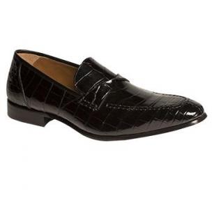 Mezlan Bordone Alligator Penny Loafers Black Image