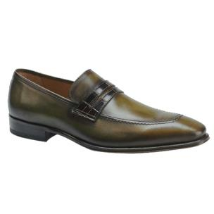 Mezlan Borja Calfskin & Alligator Penny Loafers Olive / Brown Image