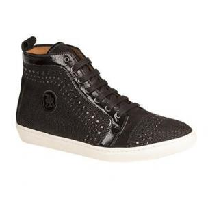 Mezlan Cabrillo Glass Suede Fashion Sneakers Black Image