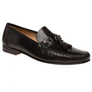 Mezlan Cafaro Lizard & Calfskin Tassel Loafers Black Image