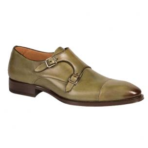 Mezlan Cajal Double Monk Strap Shoes Olive Image