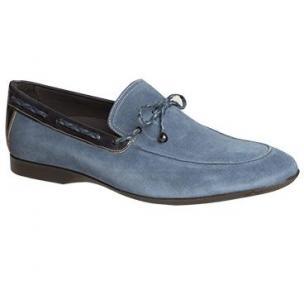 Mezlan Campin Suede Twist Tie Loafers Blue Image