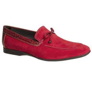 Mezlan Campin Suede Twist Tie Loafers Red Image