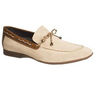 Mezlan Campin Suede Twist Tie Loafers Taupe / Tan Image