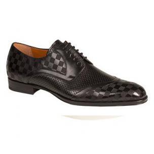 Mezlan Camus Embossed Calfskin Spectator Shoes Black Image
