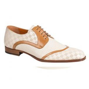 Mezlan Camus Embossed Calfskin Spectator Shoes Bone / Camel Image