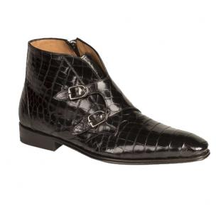 Mezlan Chauncey Double Monk Strap Alligator Boots Black Image