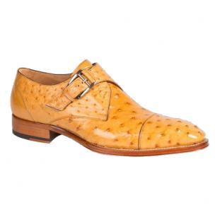 Mezlan Cohen Ostrich Monk Strap Shoes Mustard Image