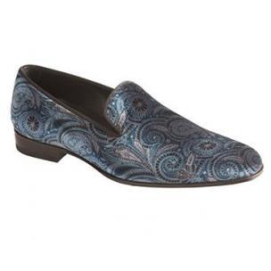 Mezlan Cole Printed Velvet Loafers Blue Image