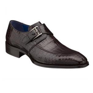 Mezlan Comodo Alligator Monk Strap Shoes Brown Image