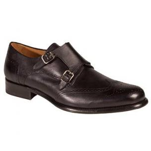 Mezlan Coruna Wingtip Monk Strap Shoes Graphite Image