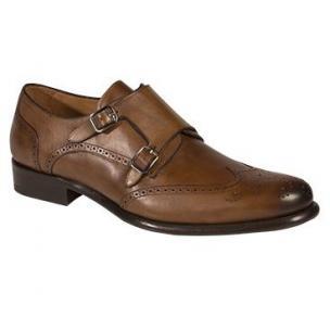 Mezlan Coruna Wingtip Monk Strap Shoes Tan Image