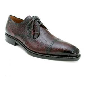 Mezlan Cotto Alligator Cap Toe Shoes Burgundy Image