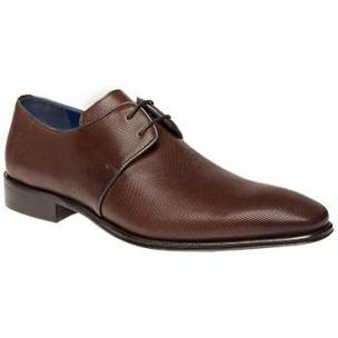 Mezlan Donizetti Plain Toe Derby Shoes Cognac / Blue Image
