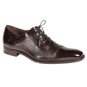 Mezlan Durham Deerskin & Calfskin Cap Toe Shoes Black Image