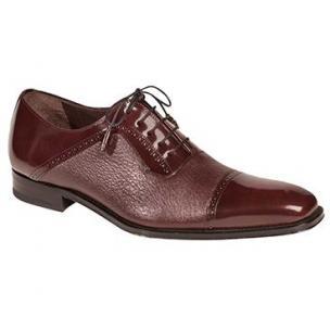 Mezlan Durham Deerskin & Calfskin Cap Toe Shoes Burgundy Image