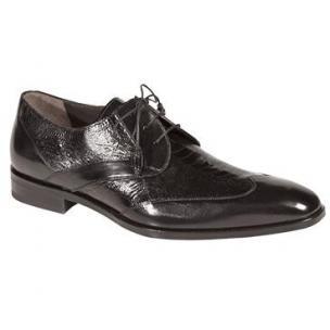 Mezlan Ecole Ostrich & Calfskin Wingtip Shoes Black Image