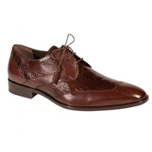 Mezlan Ecole Ostrich & Calfskin Wingtip Shoes Brown Image