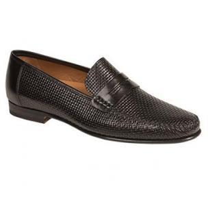 Mezlan Elcano Textured Calfskin Penny Loafers Black Image