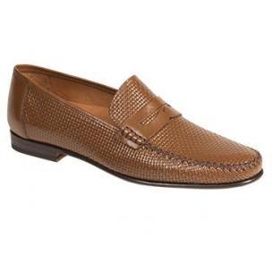 Mezlan Elcano Textured Calfskin Penny Loafers Cognac Image