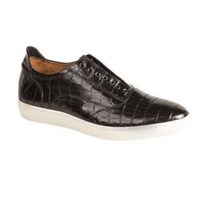 Mezlan Emmanuel Crocodile Laceless Sneakers Black Image