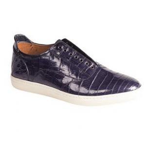 Mezlan Emmanuel Crocodile Laceless Sneakers Blue Image