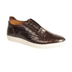 Mezlan Emmanuel Crocodile Laceless Sneakers Brown Image