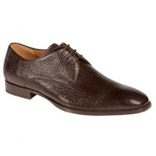 Mezlan Escorial Peccary Plain Toe Derby Shoes Brown Image