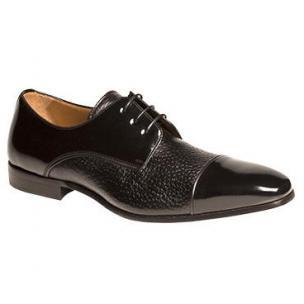 Mezlan Fini Peccary & Calfskin Cap Toe Shoes Black Image