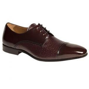 Mezlan Fini Peccary & Calfskin Cap Toe Shoes Burgundy Image