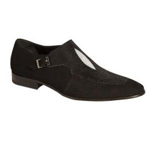 Mezlan Flecha Stingray Monk Strap Shoes Black Image