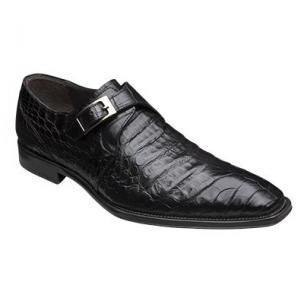 Mezlan Gables Crocodile Monk Strap Shoes Black Image