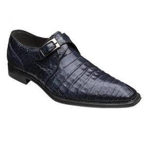 Mezlan Gables Crocodile Monk Strap Shoes Blue Image