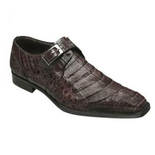 Mezlan Gables Crocodile Monk Strap Shoes Brown Image