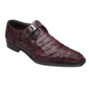 Mezlan Gables Crocodile Monk Strap Shoes Burgundy Image