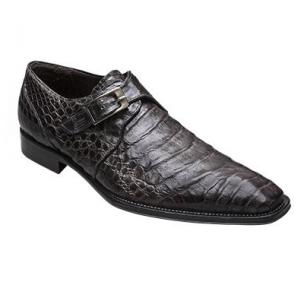 Mezlan Gables Crocodile Monk Strap Shoes Gray Image