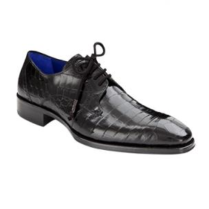 Mezlan Giotto Alligator Derby Shoes Black Image