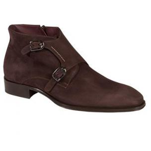 Mezlan Grenoble Double Monk Strap Suede Boots Dark Brown Image