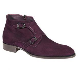 Mezlan Grenoble Double Monk Strap Suede Boots Grape Image