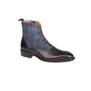 Mezlan Grimaldi Calfskin & Printed Suede Boots Blue Image