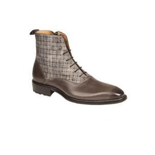 Mezlan Grimaldi Calfskin & Printed Suede Boots Grey Image