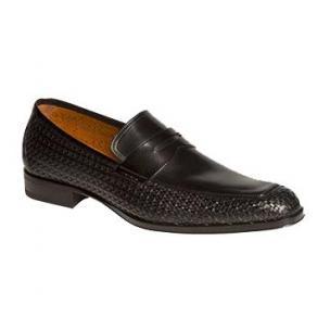 Mezlan Hurtado Textured Calfskin Penny Loafers Black Image