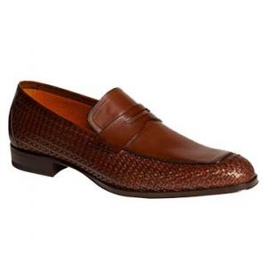 Mezlan Hurtado Textured Calfskin Penny Loafers Cognac Image